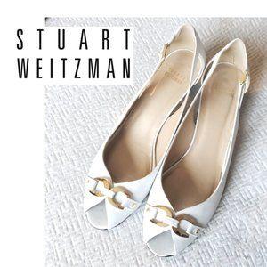 Stuart Weitzman Open Toe Kitten Heel Sandals 7.5